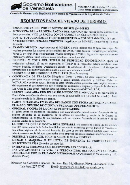 Requisitos para visa de turista